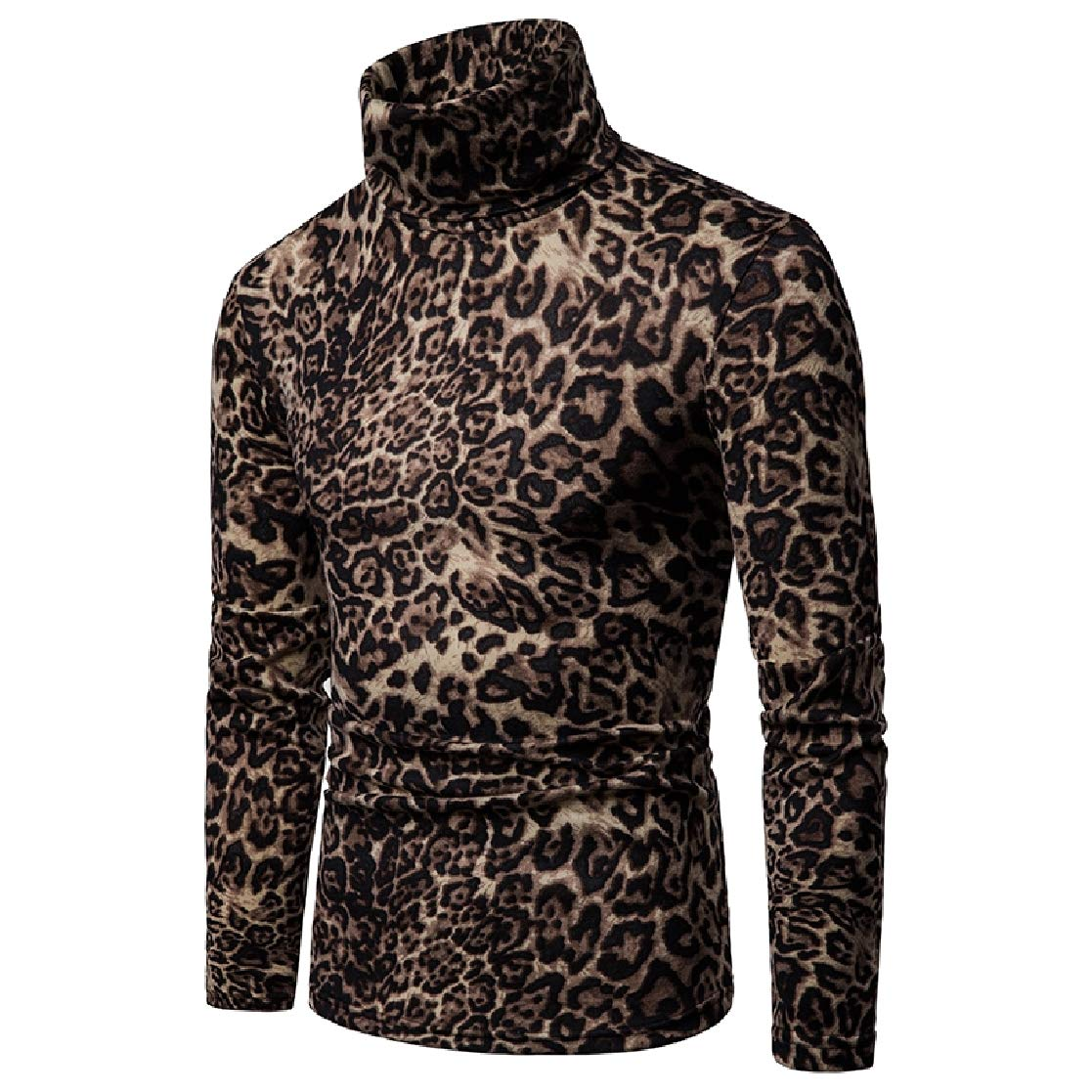 YUNY Mens Print Tops Cozy Leopard Turtle Neck Pullover Standard-fit Sweaters AS1 XL