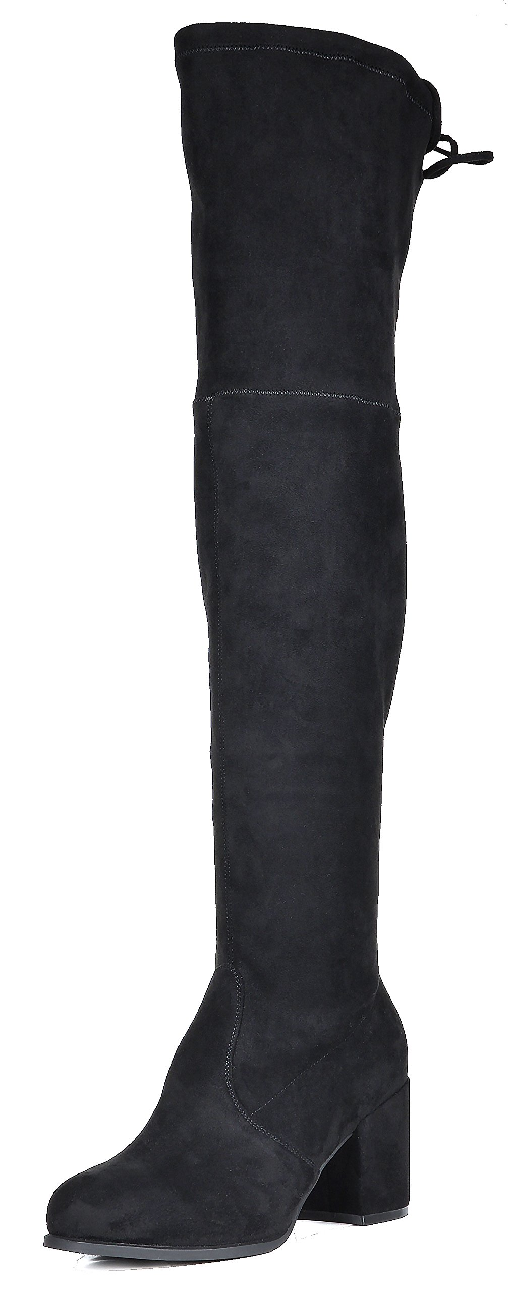 TOETOS Women's Prade-High Black Over The Knee Chunky Heel Boots Size 7 M US