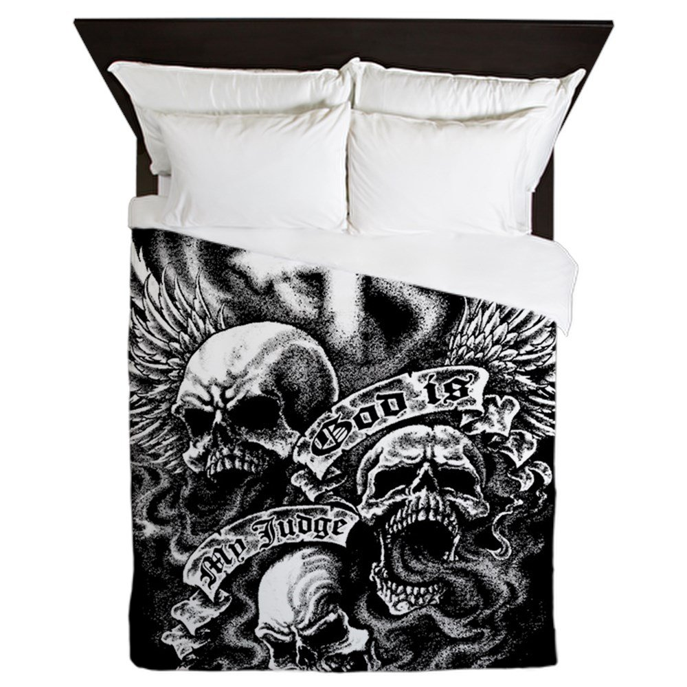 Queen Duvet Cover God Is My Judge Skulls Cross Angel by Royal Lion
