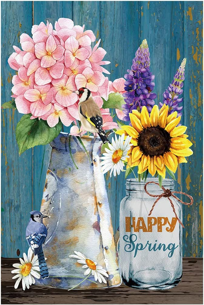 Morigins Welcome Spring Flowers Garden Flag Floral Outdoor Yard Flag Double Sided 12.5 x 18 Inch