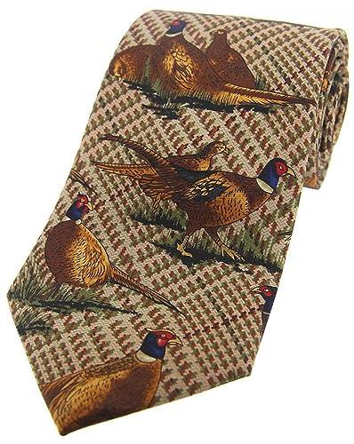 corbata marrón que se coloca faisanes Tweed País Seda de David Van ...