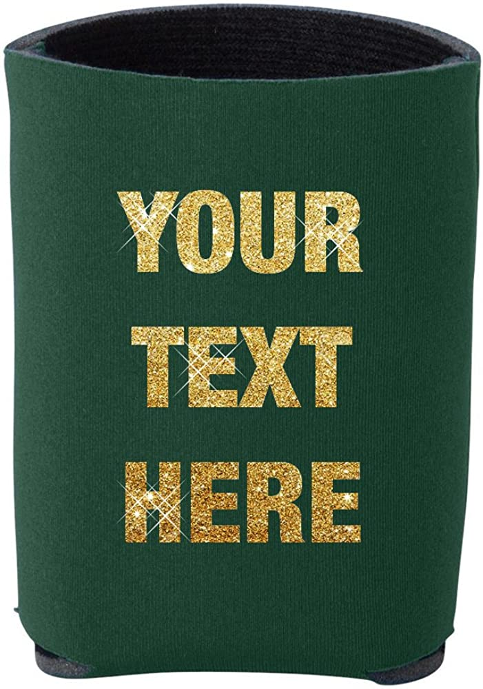Prnnt Glitter 12 Pieces Custom Personalized Insulated Beverage Holder Your Text Here Beer Can Insulators, Coolies for 12 Ounce Cans and Bottles