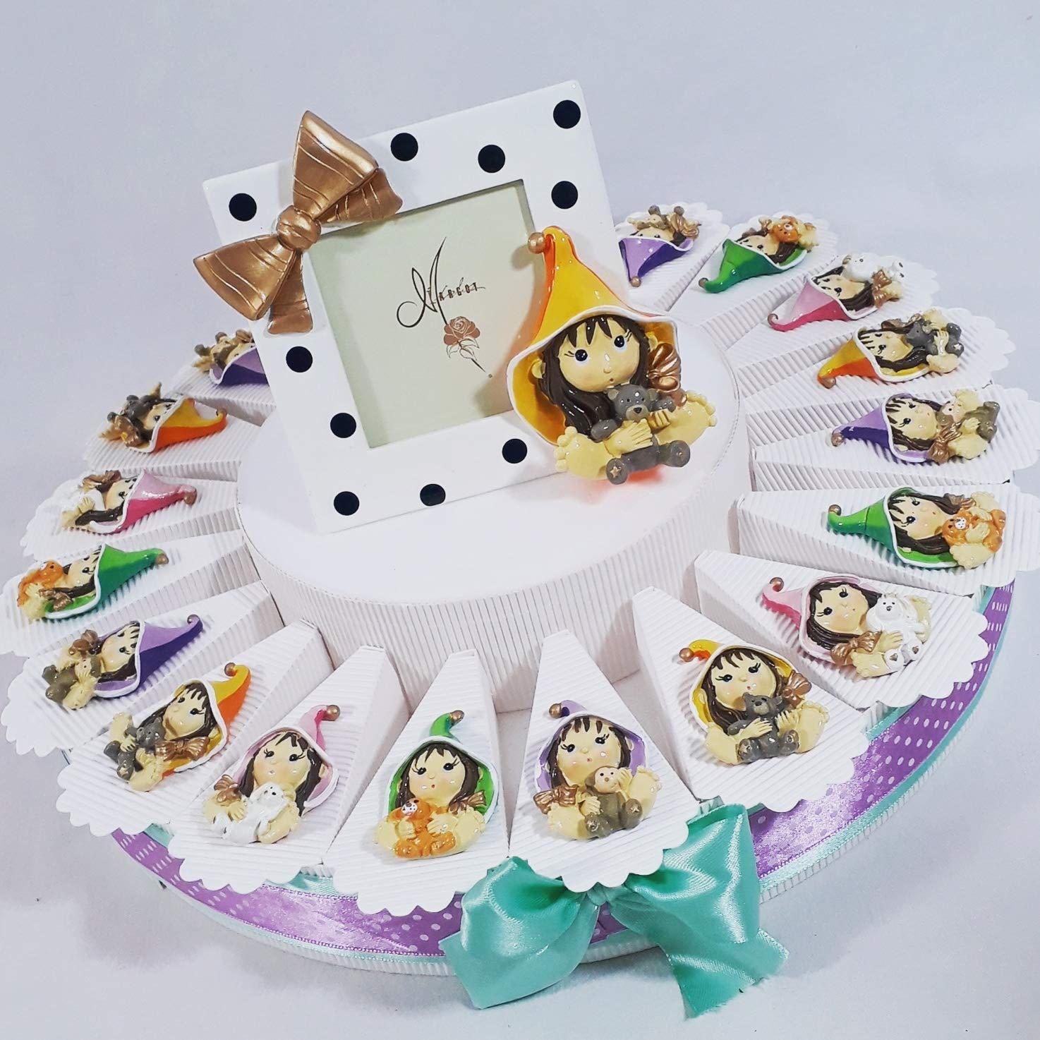 BOMBSINDY Torta bomboniera Bimba streghetta Pixie Coloreate magneti (Torta da 20 fette)