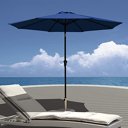 Patiorama 9 Feet Aluminum Patio Umbrella Outdoor Market Umbrella with Crank, 8 Steel Ribs,Polyester Canopy, Dark Blue