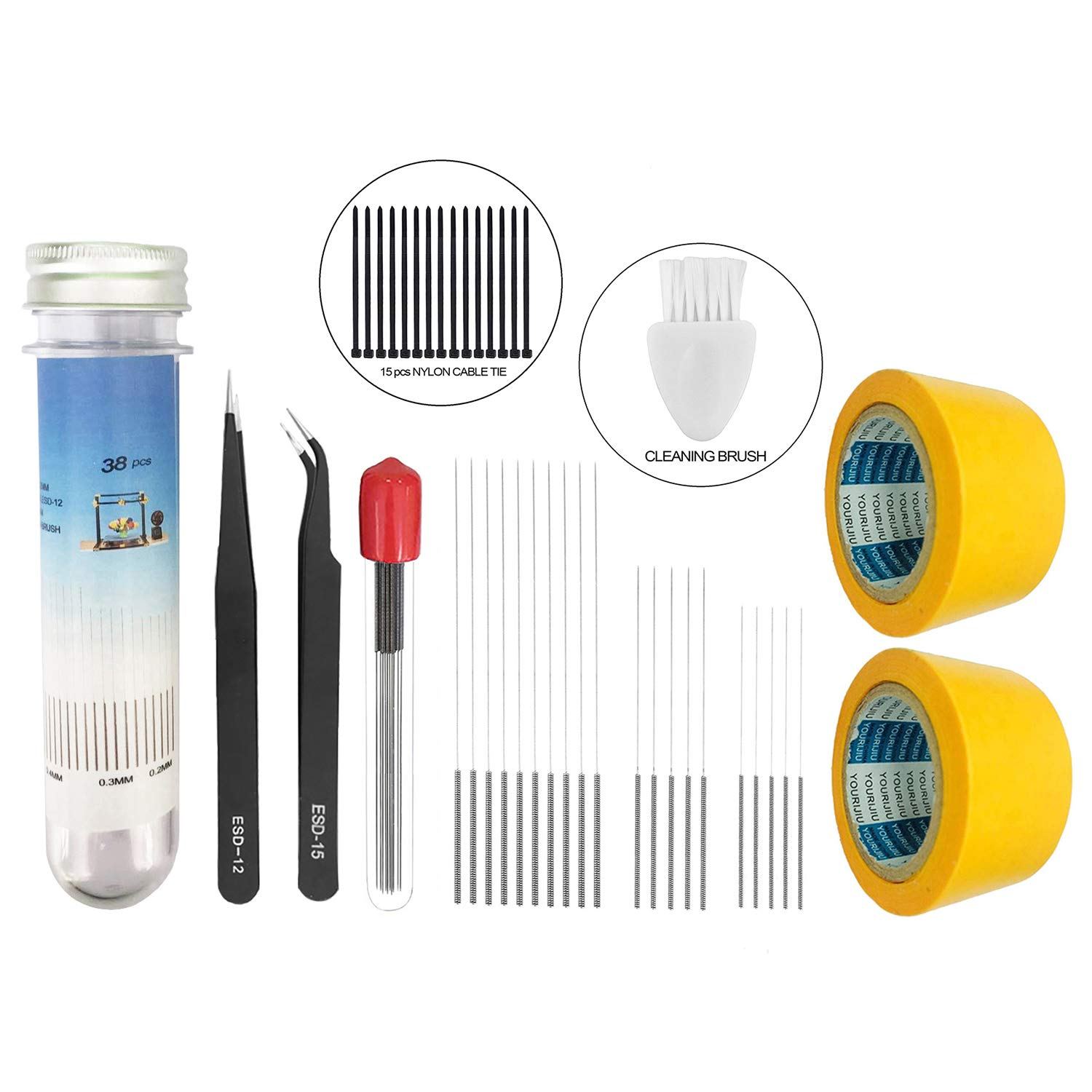 2pcs Heat Bed Sticker Yellow Tape 50mm Width,15pcs Nylon Cable Tie and 1pcs Little Cleaning Brush Sunhokey 3D Printer Nozzle Cleaning Kit,0.4mm//0.3mm//0.2mm Needles and Tweezer Tool Kit