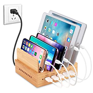 OthoKing Bamboo Wood Charging Station, Fastest USB Charging Dock Organizer 5-Port with QC 3.0 Quick Charge of Universal Cell Phones Tablets (5 Short Cables Included & 2 QC 3.0 Ports)