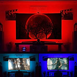 LED Backlight Strip for 65 inch TV Bias Lighting - USB Powered LED Accent Lighting Behind TV Wall Lights RF Remote Dimmable Color Changing