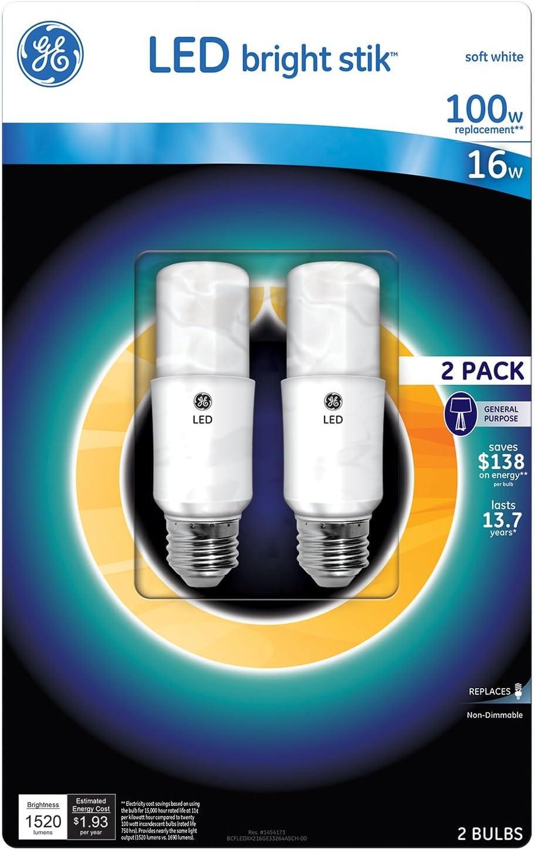 GE LED Bright Stik Soft White 16 watt 100 watt Replacement 2pk