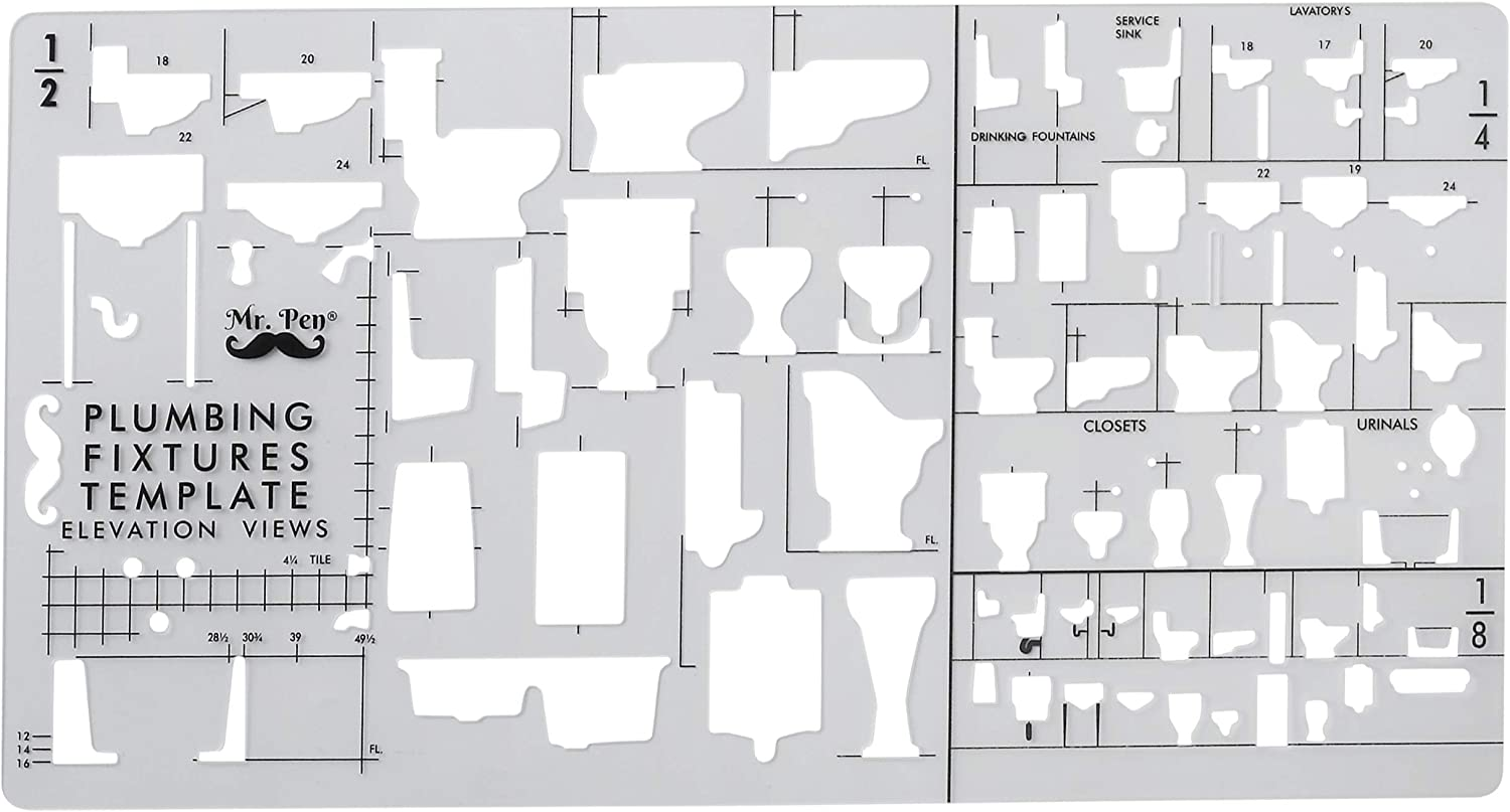 Bathroom Template Architectural Templates Template Architecture Drawing Template Pen- Plumbing Template Drafting Ruler Shapes Stencils Plumbing Fixtures Toilet Template Drafting Tools Mr