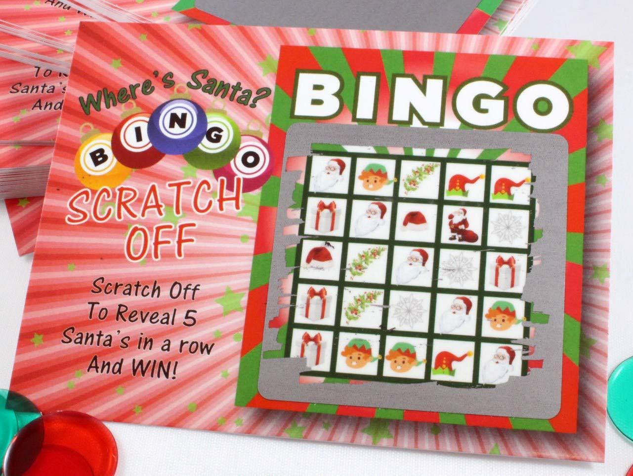 Santa Bingo Christmas Scratch Off Game Cards Kids Adult Holiday Party Favors 26 Cards (24 Non Bingo, 2 Bingo) My Scratch Offs