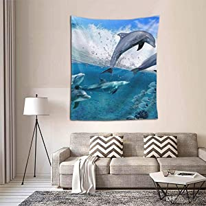 Bohemian Mandala Hippie Hippy Decor Tapestries, Wall Hanging, Home Decor Art - Strong Waves Jumping Dolphin Great Ocean Wave Blue Wall Tapestry, Living Room, Bedroom, Dorm Room Tapestries, Mattress