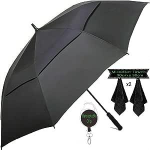 Large Golf Umbrella by DNR Australia, Double Canopy Windproof Design, 61 Inch Strong Vented Automatic Travel Umbrella, Perfect for Sun or Heavy Rain - Bonus Microfiber Towel & Retractable Keychain