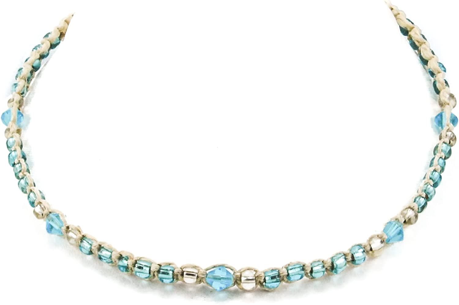 Hemp Choker Necklace with Turquoise Blue Glass Beads