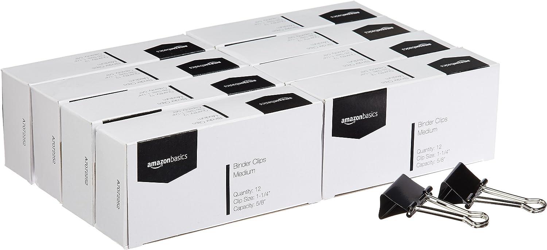 AmazonBasics Binder Paper Clip, Medium, 12 Clips per Box, 8-Pack