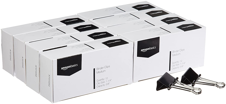 AmazonBasics Binder Clips, 5/8 Capacity, 1-1/4 Wide (Medium), Black, 96 pcs 5/8 Capacity 1-1/4 Wide (Medium) A7072252