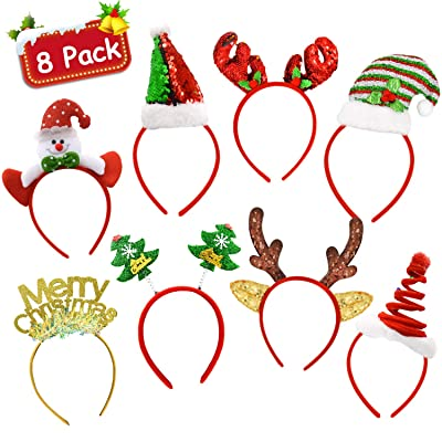 8 Pack Christmas Headbands Holiday Party Fancy Glitter Headband Hats Reindeer Antlers Snowman Xmas Tree Photo Prop Booth for Christmas Party: Toys & Games