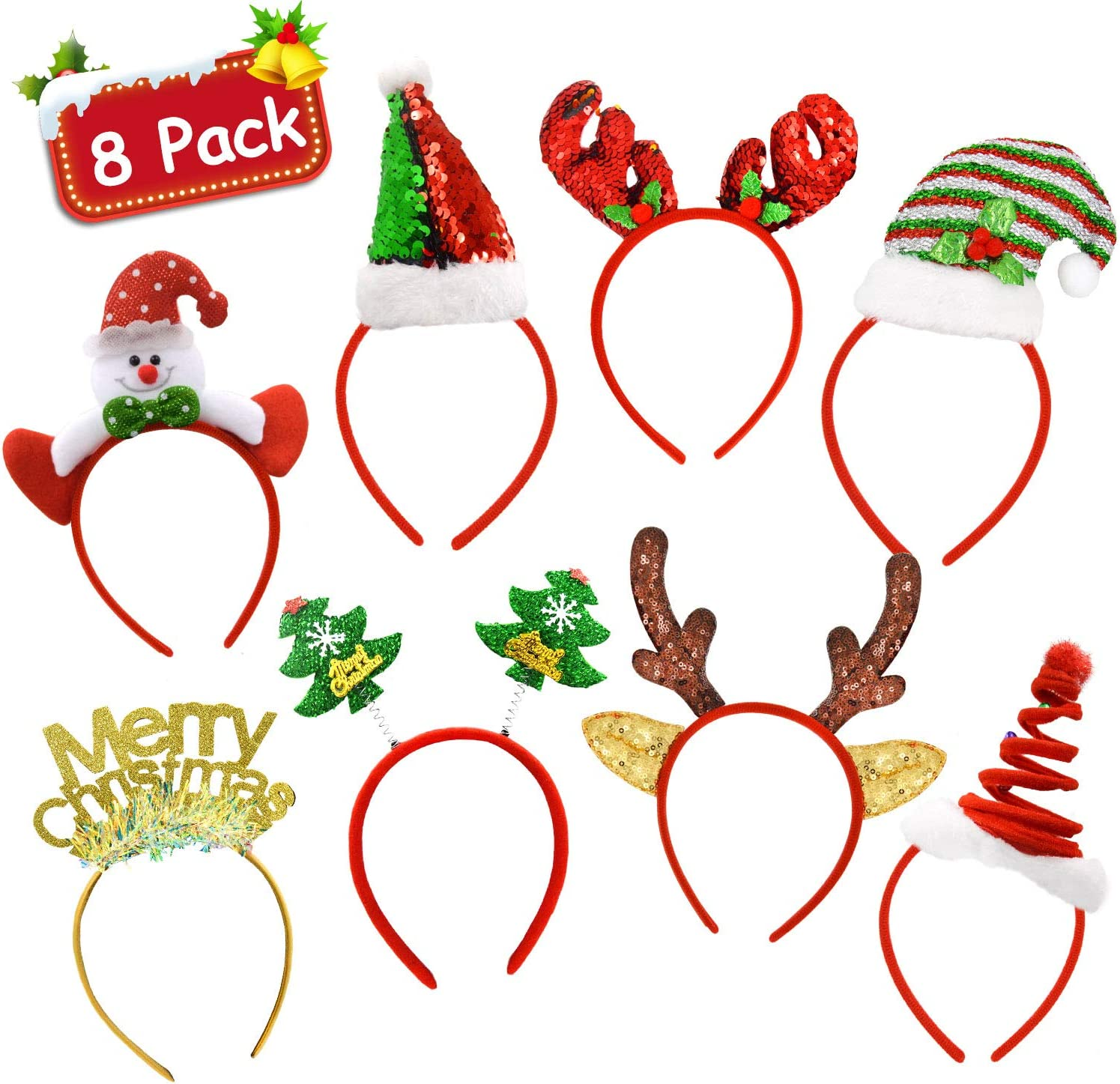 Christmas Party Favors - Pack of 8 Christmas Holiday Party Fancy Glitter Headband Hats Reindeer Antlers Snowman Xmas Tree Photo Prop Booth