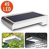 Luce Solare Leeron Lampada Wireless ad Energia Luce Solare da Esterno con Sensore di Movimento, 49 LED Lampadine 3 Modalità Super Luminoso Impermeabile per Giardino, Cortile, Scale, Prato, Parete, Muro - Argento