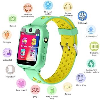 S6 Niños Smartwatch - Reloj de Pulsera Inteligente con ubicación GPS/LBS Reloj Despertador SOS Reloj Digital Cámara Linterna Juegos para niños ...