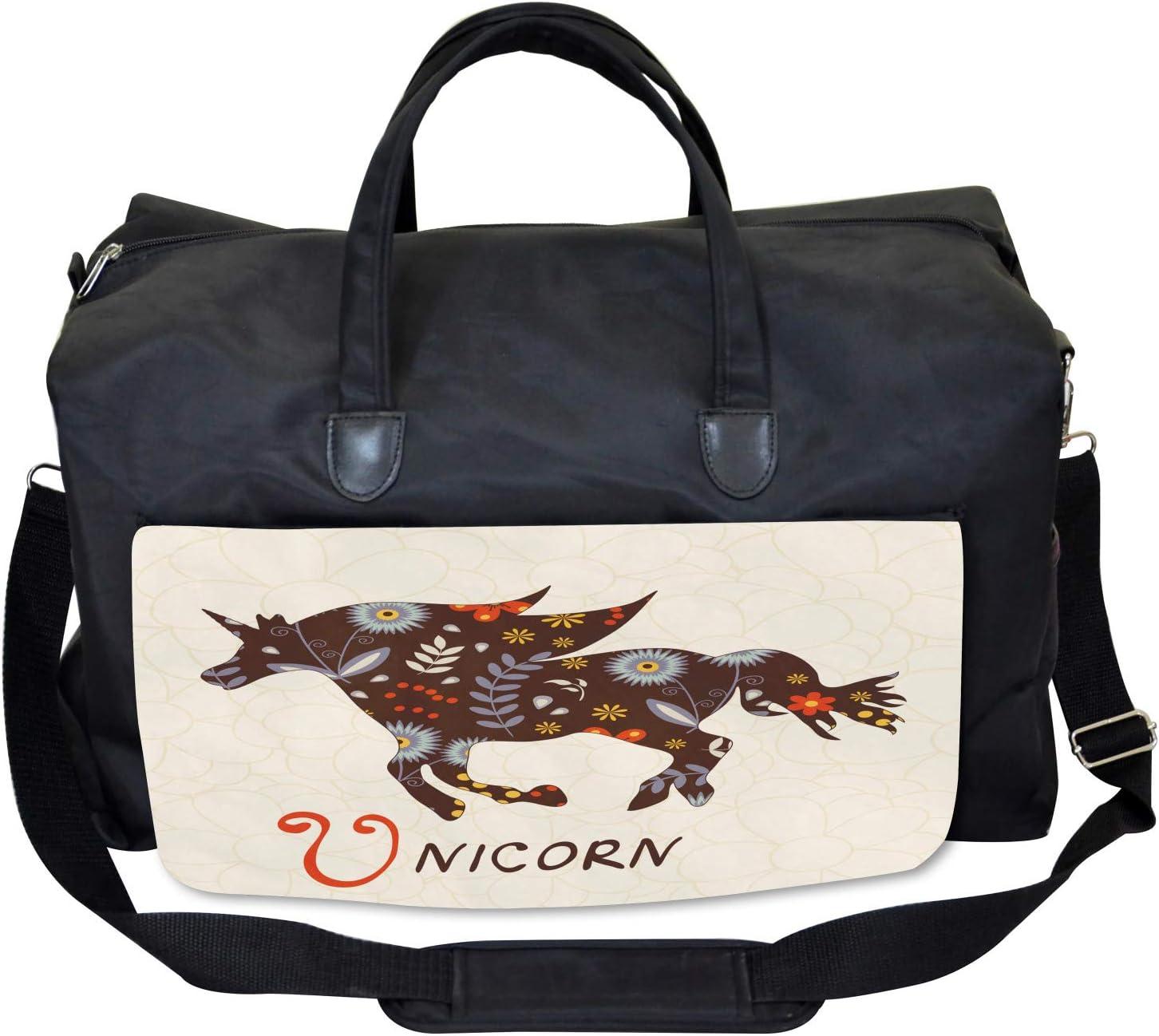 Floral Boho Vintage Large Weekender Carry-on Ambesonne Unicorn Gym Bag