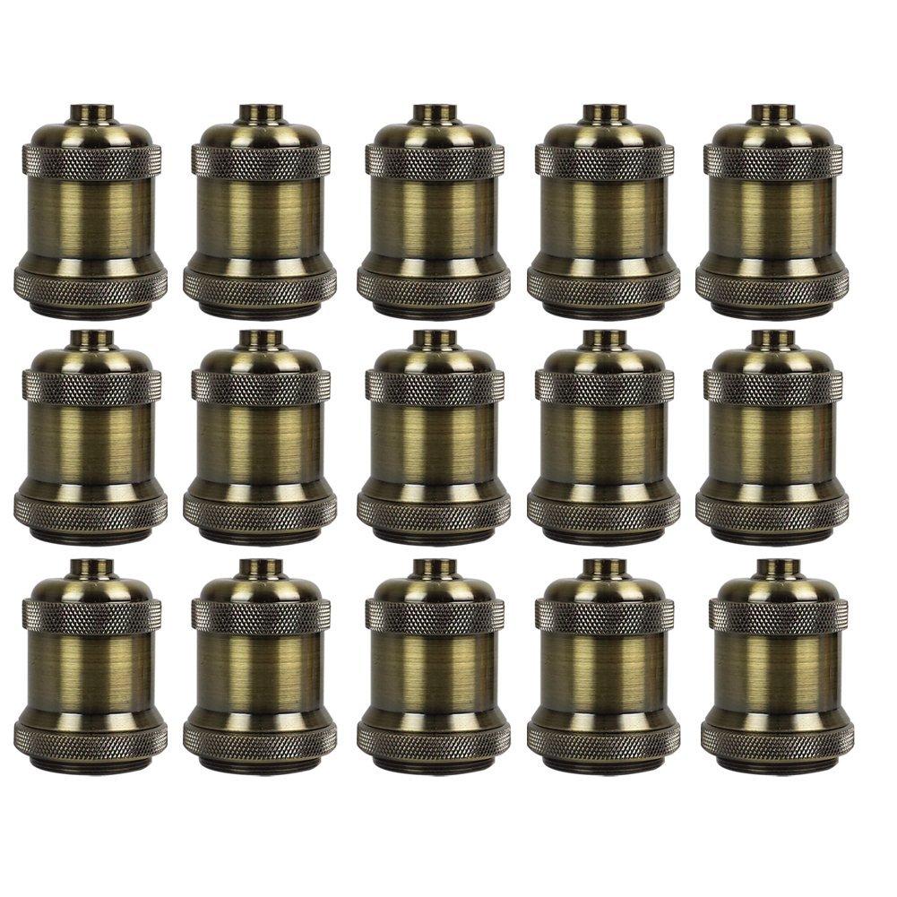 AAF Antique Bronze Metal Light Socket Shade Holder, E26 / E27, Pack Of 15 by AAF