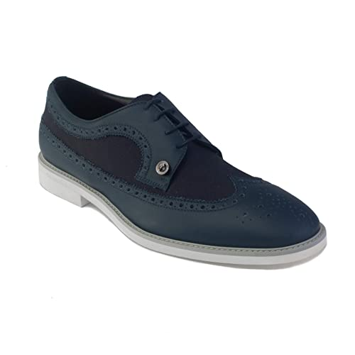 796a8acbe440ee Versace Men s Leather Lace-up Brogue Derby Dress Shoes Navy Blue   Amazon.co.uk  Shoes   Bags