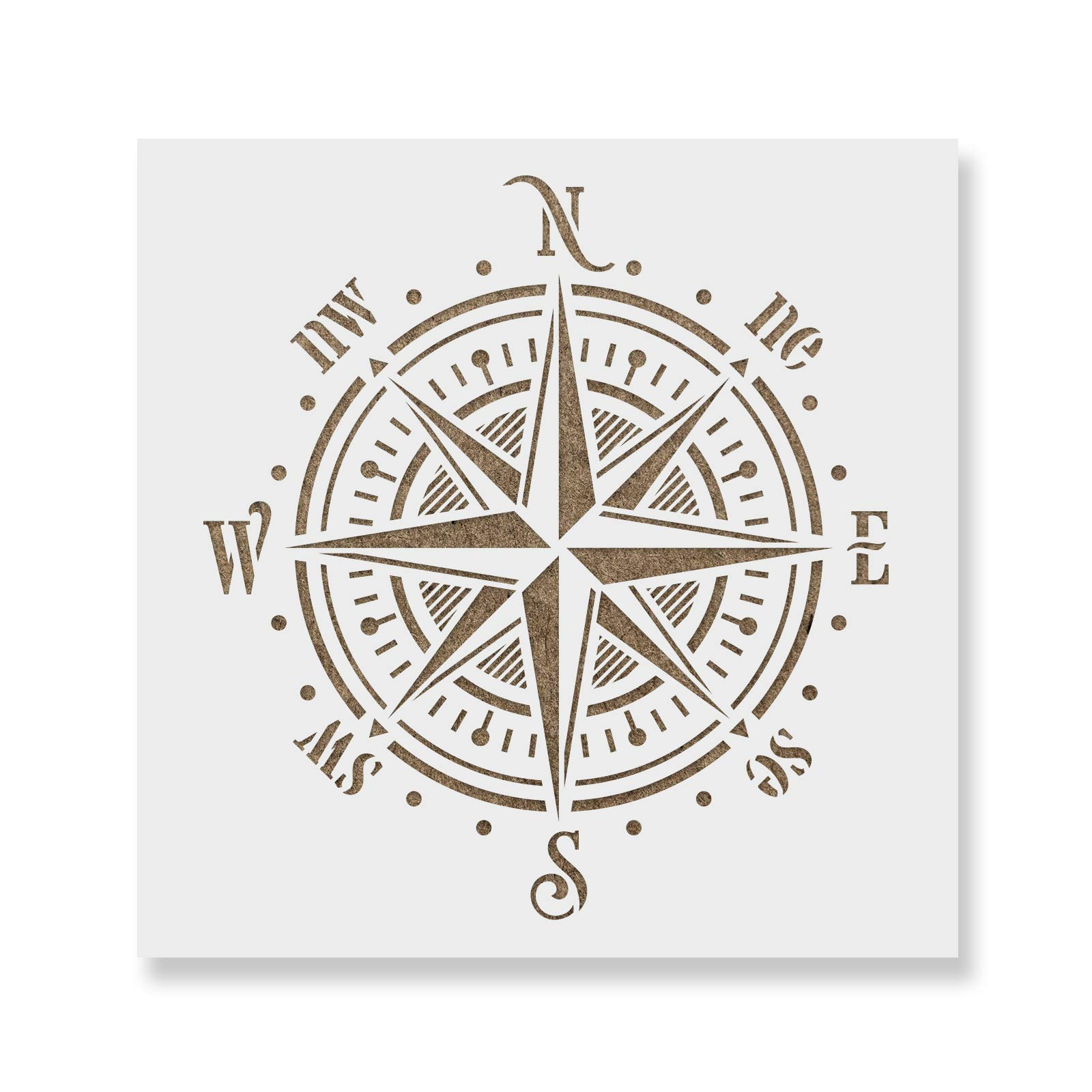 Compass Rose Stencil Template - Reusable Stencil with Multiple Sizes Available