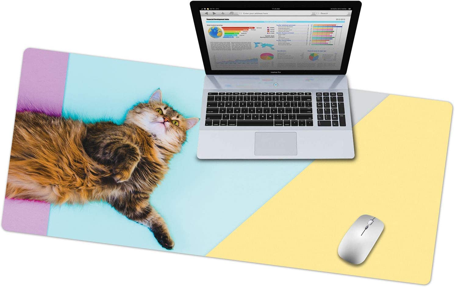 """French Koko Large Mouse Pad, Desk Mat, Keyboard Pad, Desktop Home Office School Cute Decor Big Extended Laptop Protector Computer Accessories Mousepad Women Girls Kitty XL 31""""x15"""" (Pet Lazy Cat)"""