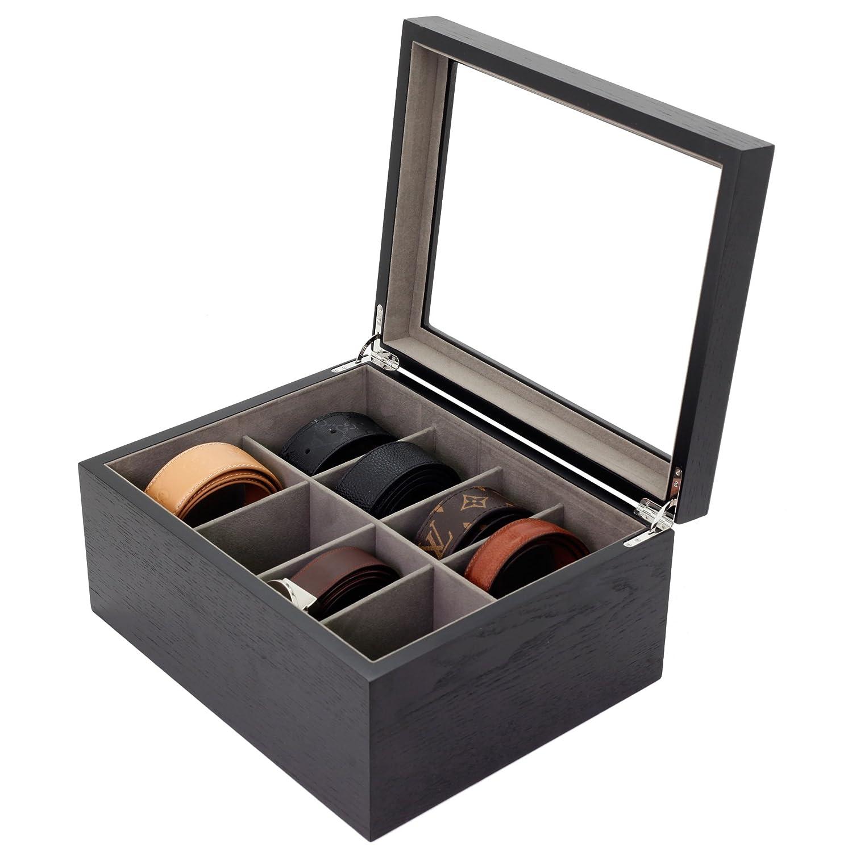 Belt Box Valet Organizer 8 XL Compartments Black Glass Top - Wood Tech Swiss TSBX8300BLT