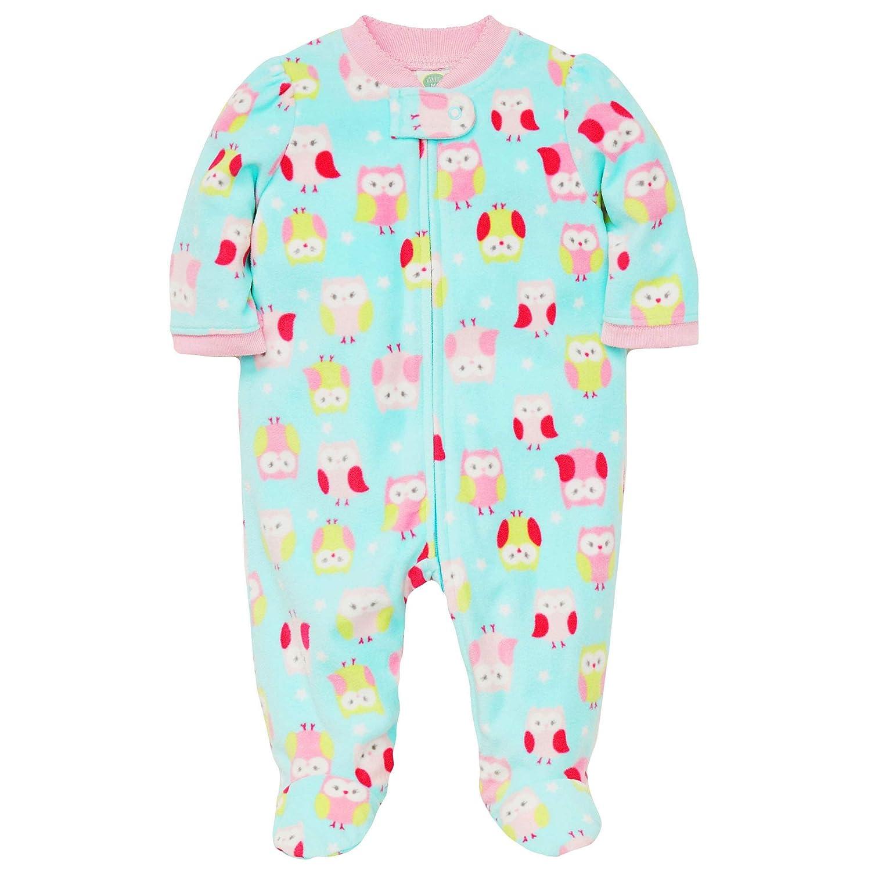 Amazon.com  Little Me Warm Fleece Baby Pajamas Footed Blanket Sleeper  Footie Owl Aqua 3 Months  Baby dbcbdb334