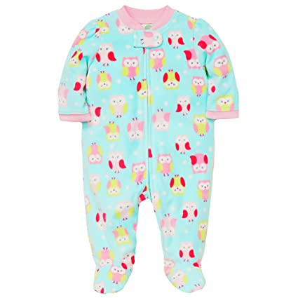 Amazon.com: Little Me Winter Fleece Baby Pajamas Footed Blanket Sleeper Footie Owl Aqua 12 Month: Baby