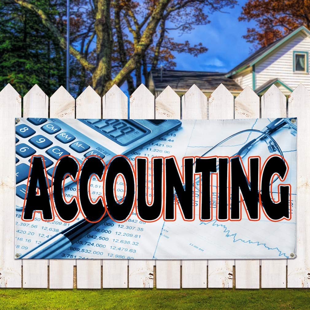 One Banner Vinyl Banner Sign Accounting White Blue Black Business Marketing Advertising White 8 Grommets 48inx96in Multiple Sizes Available