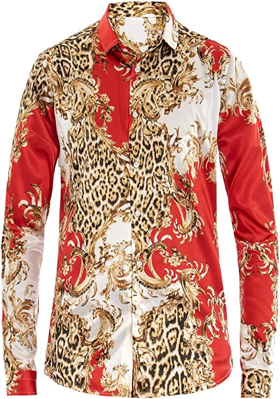 Giosal - Camisa para Hombre con Cuello Coreano, diseño de fantasía, Estilo Barroco, Color Rojo Rojo M: Amazon.es: Ropa y accesorios