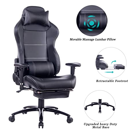 Swell Healgen Massage Gaming Chair Office Chair With Heavy Duty Metal Base Reclining High Back Pu Leather Pc Computer Racing Desk Chair With Footrest And Ibusinesslaw Wood Chair Design Ideas Ibusinesslaworg