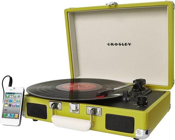 Crosley CR8005A - Tocadiscos (Tocadiscos de tracción por Correa, Verde, 33 1/3,45,78, Corriente alterna, 2,5 kg, 355,6 x 117,602 x 266,7 mm)