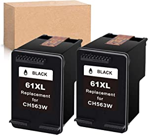 Economink Remanufactured Ink Cartridge Replacement for HP 61XL 61 XL Black Used in Envy 4500 4502 5530 DeskJet 2512 1512 2542 2540 2544 3000 3052a 1055 3051a 2548 OfficeJet 4630 Printer (2-Pack)