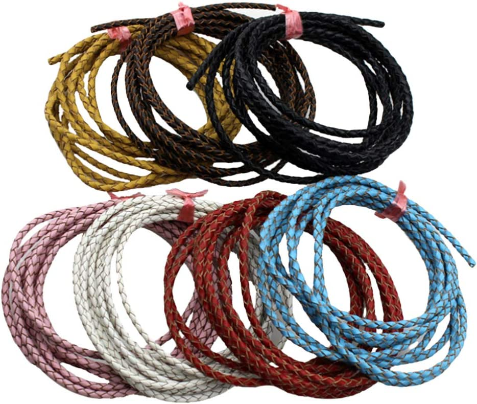 Exceart 2M 3mm Leather String Leather Cord Braided Leather Rope Bracelet Making Cord Round for Bracelets Jewelry Making Yellow
