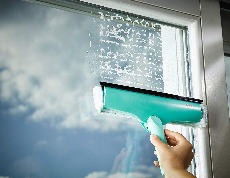 raclette vitre /& encadrements compatible Click-System Leifheit lave-vitres 3-en-1 avec molleton microfibres nettoyeur de vitres avec poign/ée articul/ée