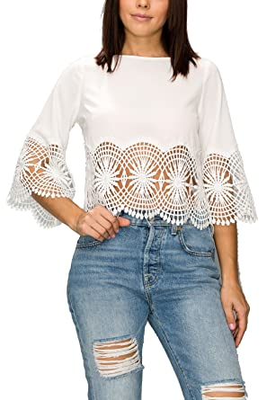 57f427c744b7 Women Casual 3/4 Flare Sleeve Boat Neck Crochet Lace Loose Crop Top Summer  Blouse (Small, Ivory) at Amazon Women's Clothing store: