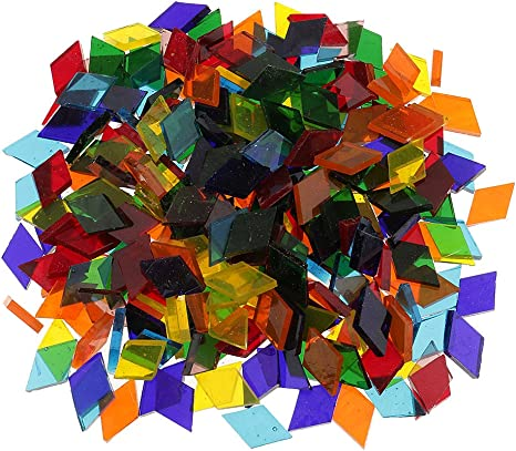 250 Pieces Rhombus Shape Assorted Colors Clear Glass Pieces Mosaic Tiles Tessera