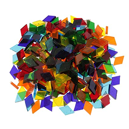 buy segolike 250 pieces rhombus shape mixed color clear glass mosaic