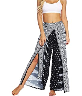 c386f5b11383 MsAnya Womens Palazzo Slit Wide Leg Pants Summer Casual Beach Boho Hippie  Bohemian Pilate Plus Size