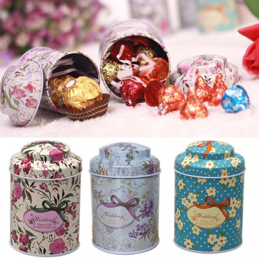 Retro Metal Sugar Coffee Tea Container Box Candy Storage Jar Pot Gift for Canning, Party and Wedding Favors, Jams, Sauces, Herbs, Spices BaoST