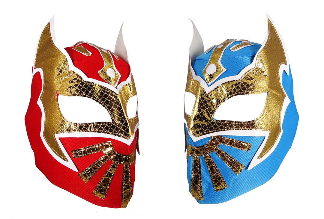 2 pack SIN CARA Youth Lucha Libre Wrestling Mask - KIDS Costume Wear - Party Pack Red/Blue by Mask Maniac