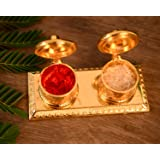 Collectible India Metal Golden Finish Chandan Roli Box Double Kumkum Dani Pooja Purpose