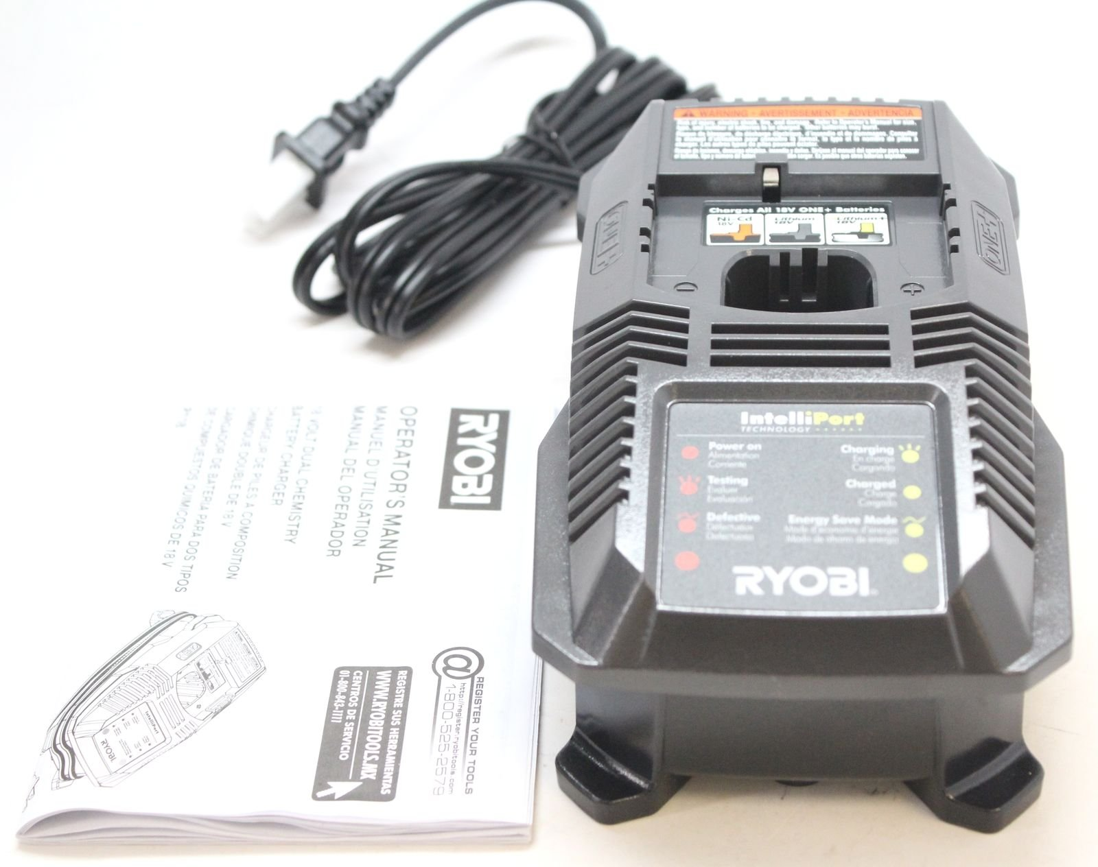 Ryobi P117 One+ 18 Volt Dual Chemistry IntelliPort Lithium Ion and NiCad Battery Charger (Battery Not Included, Charger Only) by Ryobi
