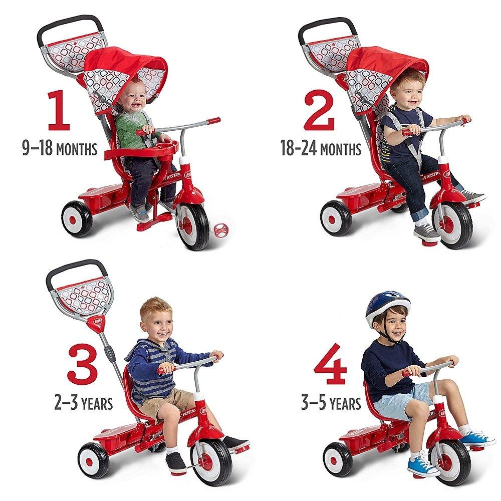 3点ハーネスシートベルト、シートパッド付きラジオフライヤー アルティメット トライク 4 IN 1 仕様 (赤) B07BY651PV  赤