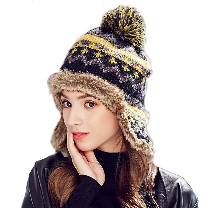 b1f3da62953 Kenmont Winter Women Lady 100% Hand Knit Faux Fur Earflap Beanie Hat Ski Cap  (