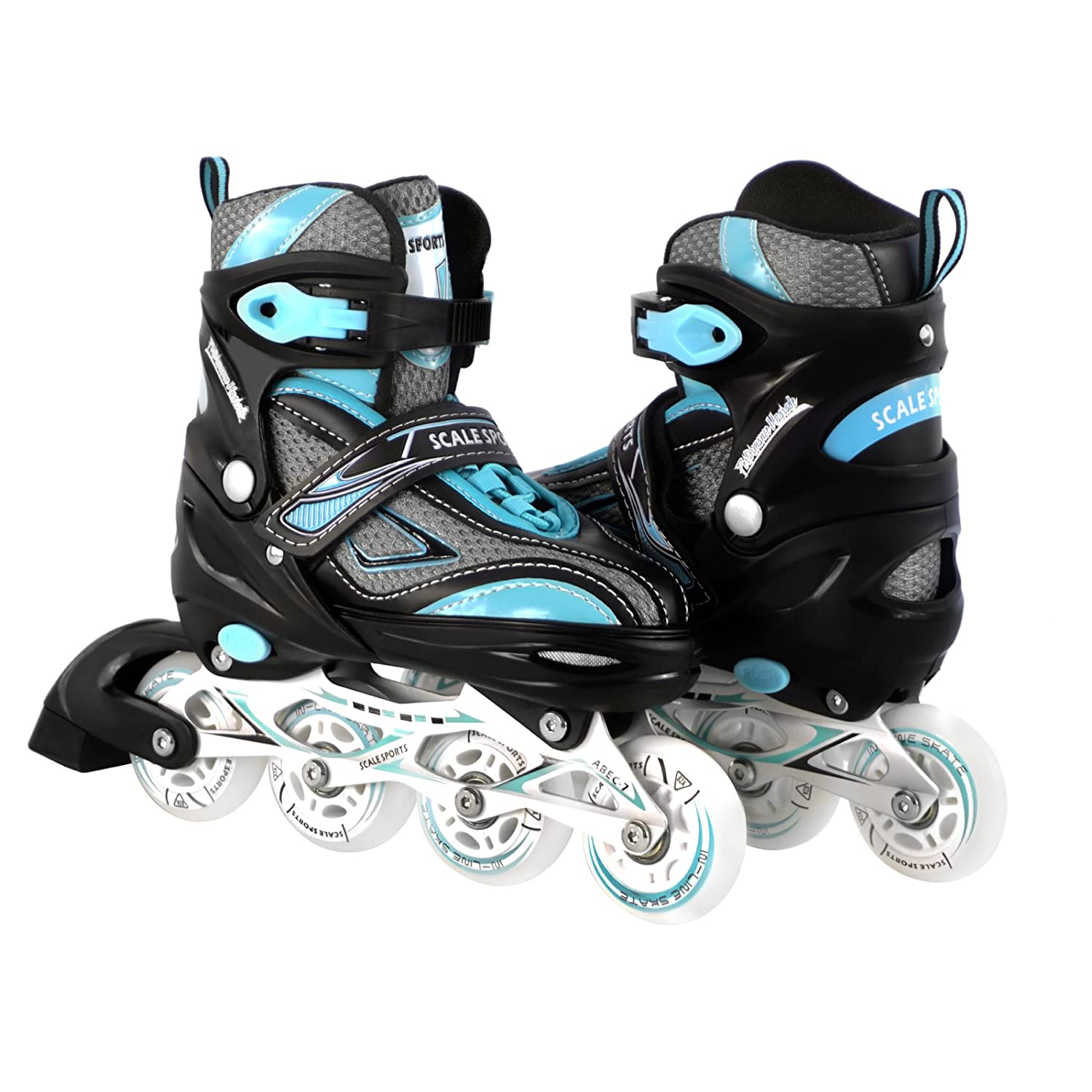 Kids Teen Adjustable Inline Skates for Girls and Boys Durable Outdoor Roller Blades Illuminating Front Wheel