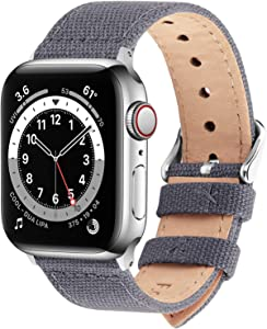 Fullmosa Compatible Apple Watch Band 44mm 42mm 40mm 38mm, 8 Colors Canvas Style for iWatch Strap Compatible with Apple Watch Series 4/5/6/SE (44mm) Series 3/2/1 (42mm),44mm 42mm Nordic Grey